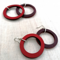 Colour Duo Leather Hoop Earrings - Burgandy & Red, Sterling Silver