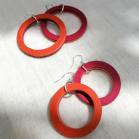Colour Duo Leather Hoop Earrings - Orange & Pink, Sterling Silver