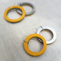 Colour Duo Leather Hoop Earrings - Silver & Yellow, Sterling Silver