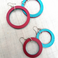 Colour Duo Leather Hoop Earrings - Turquoise & Pink, Sterling Silver