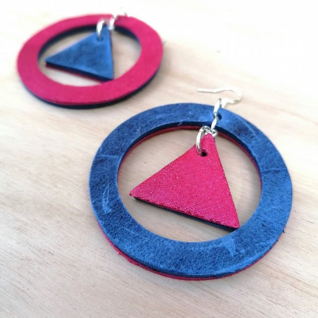 Vice Versa Leather Hoop Earrings - Blue & Pink (Sterling Silver)
