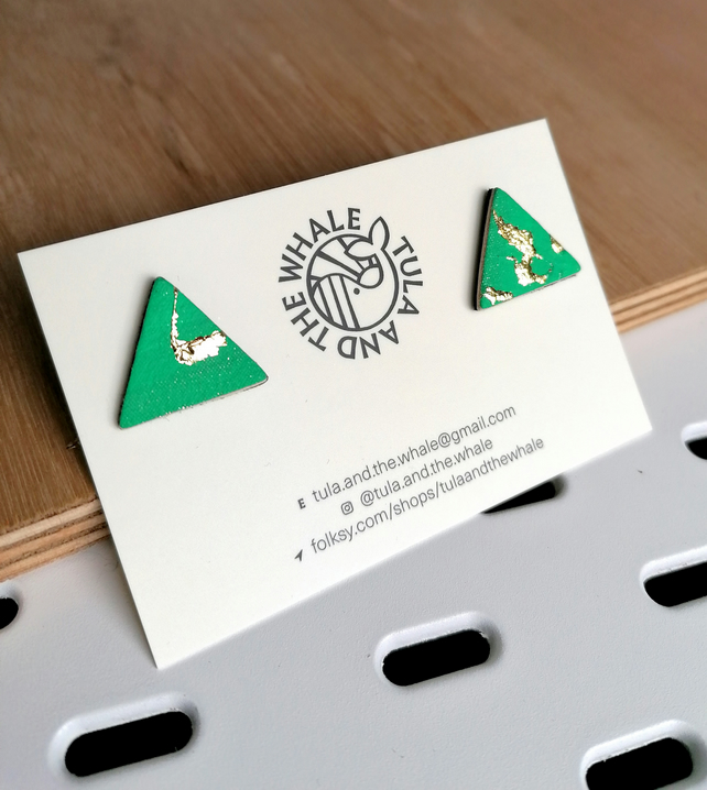 Mini Mountain Leather Studs - Gold Leaf & Green