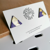 Mini Mountain Leather Studs - Gold Leaf & Purple