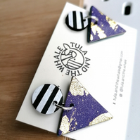 Monochrome Mountain Leather Earrings - Gold Leaf & Purple