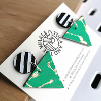 Monochrome Mountain Leather Earrings - Gold Leaf & Emerald