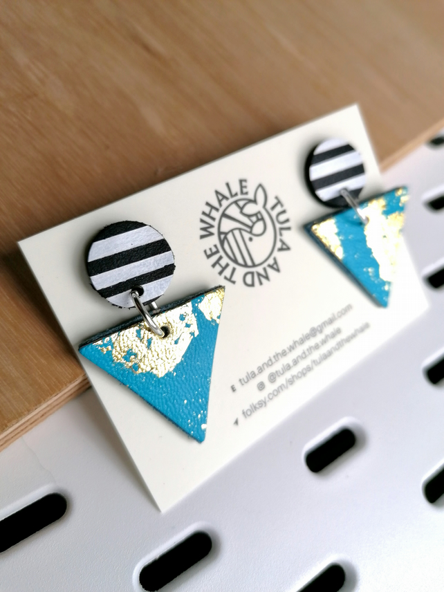 Monochrome Mountain Leather Earrings - Gold Leaf & Turquoise