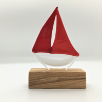 Fused Glass Boat - Red