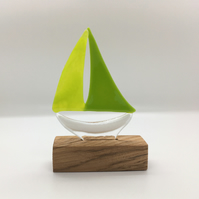 Fused Glass Boat - Bright Green