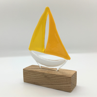 Fused Glass Boat - Yellow