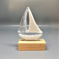 Fused Glass Boat - White