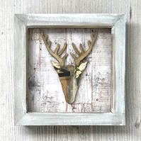 Stag Head Collage Framed