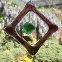 Unique beaded handmade square suncatcher