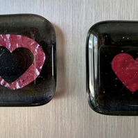 Unique handmade glass keepsake magnets - two parts are a whole