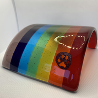 Handmade glass pet rainbow bridge - personalised with pets names
