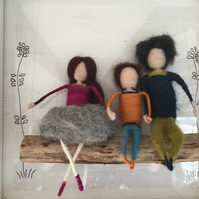 Stokla Doll Family with a lovely boy SALE!! needle felting doll, felted, gift,