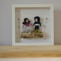 Stokla Doll Lovely couple sitting in a wood swing, February SALE