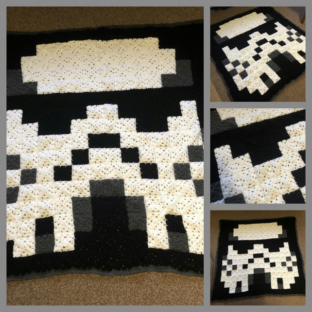 Star Wars Stormtrooper crochet granny square blanket