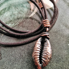 Cowrie Shell Necklace. Electroformed Copper.
