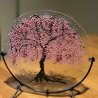 cherry blossom fused glass art