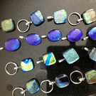 Dichroic glass handbag, briefcase, pet collar, wine glass charms, brides favours