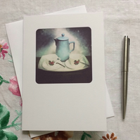 "Original photograph blank card 5""x7"". Vintage tea set."