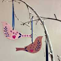 SALE - Two hanging wooden birds, home decor, Bird Lovers Gift