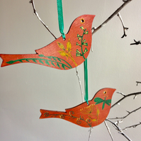 SALE - Wooden hanging birds, set of two, bird decor, gift for bird lover