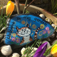 Garden Stone, Painted decorative stone, Welcome sign, Cat Art