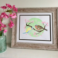 Springtime, Garden birds and Apple Blossom, Chaffinch and Blue Tit Original Art