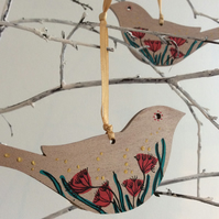SALE - Two wooden birds, hanging decoration, Bird Lovers gift