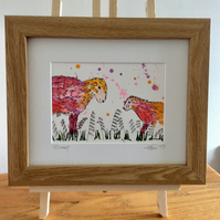 Sheep, original watercolour and ink painting, framed.