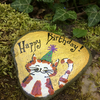 Painted Slate, Happy Birthday Ornament, Cat Art, Cat Lovers Birthday Gift