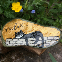 Painted Slate, Cat Art, Cat Lovers gift