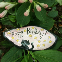 Painted Slate, Happy Birthday Greeting, Birthday Cat, Cat Ornament
