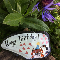 Painted Slate, Happy Birthday Greeting, Cat Ornament