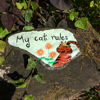 Painted Slate, Tortoiseshell Cat, My Cat Rules Ornament, Paperweight