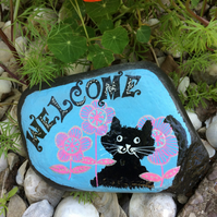 Painted Slate, Cat ornament, Paperweight, Cat Lovers gift