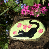 Painted Slate , Cat ornament, Cat Paperweight, gift for cat lover, Black cat