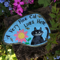 Painted slate, Black Cat ornament, Cat Lovers gift