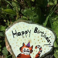 Painted Slate, Happy Birthday Greetings, Cat Art, Cat Lovers Birthday gift