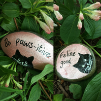 Painted stones, Cat Art, Black cats, Positivity , Cat Lovers Gift