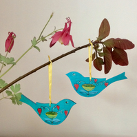 SALE - Two hanging bird decorations, wooden painted birds,, bird lovers gift