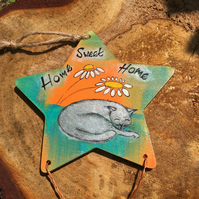 Painted wooden star, hanging decoration, home sweet home decoration