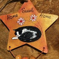 Painted wooden star, hanging decoration, Home sweet home ,Cat Lovers Gift