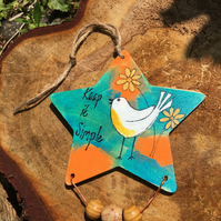Wooden star, painted star, hanging decoration, encouragement message
