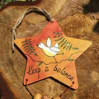 Painted wooden star, hanging decoration, encouragement message