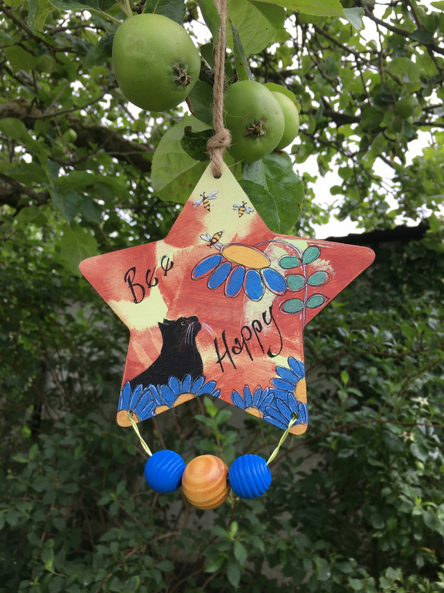 Painted wooden star, hanging star, cat art, encouragement message