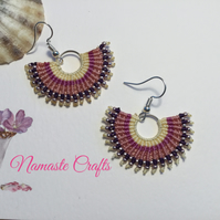 Stunning eye catching Micro Macrame Festival Fan earrings, pink earrings