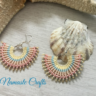 Beautiful colourful macrame fashion fan earrings, gift for teen, Fun earrings