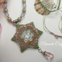 Macrame Mandala Pendant, Beaded Pendant, Necklace